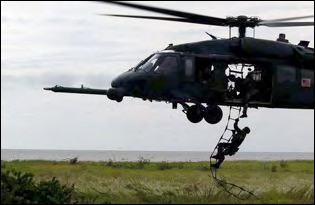 Heli rescue ladder (in action)