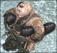 Tactical flotation support system deployed in the water